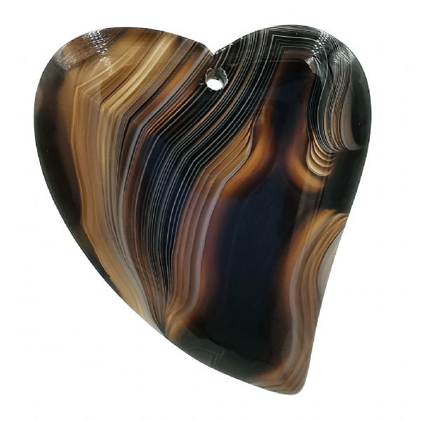 Coffee Arty Heart Agate Pendant
